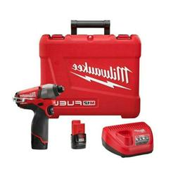 """Milwaukee 2453-22 M12 FUEL 1/4"""" Hex Impact Driver with 2 Bat"""