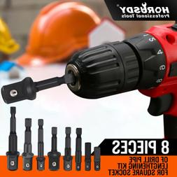8-Piece Power Drill Sockets Adapter Sets Hex Shank Impact Dr