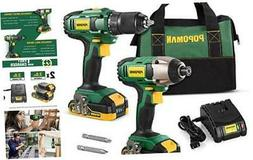 Cordless Drill Combo Kit, 20V 1600In-lbs Impact Driver, 398l